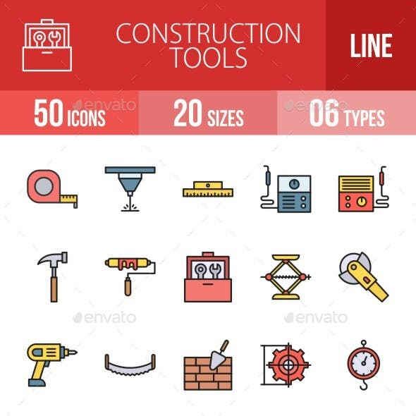 Construction Tools Filled Line Icons