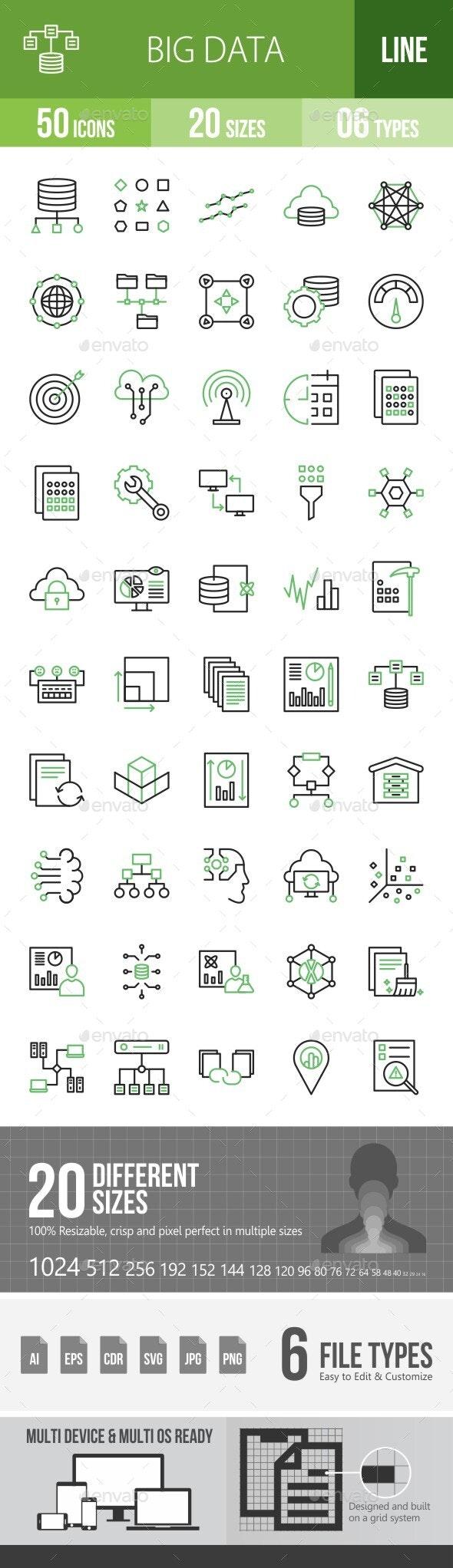 Big Data Green & Black Line Icons - Icons