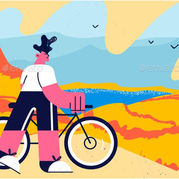 Traveling on Bicycle Vector Illustration