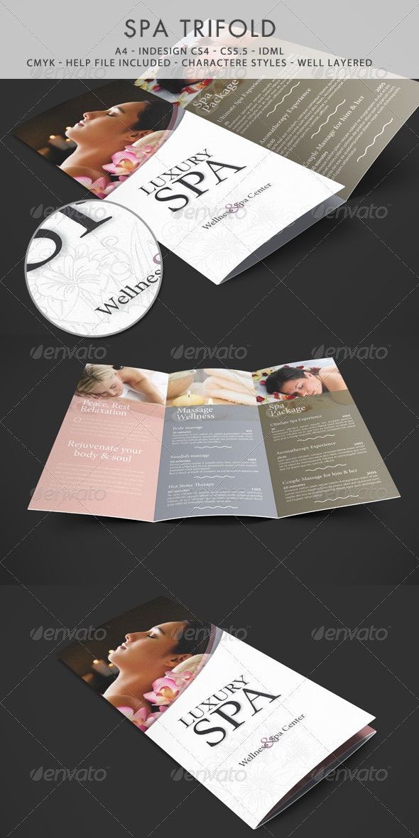 Spa & Wellness Trifold Template - Informational Brochures