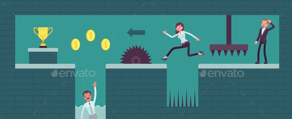 Business People Video Game Overcome Difficulties - Business Conceptual