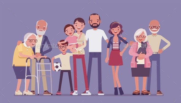 Multigenerational Family Household Happy Living - People Characters