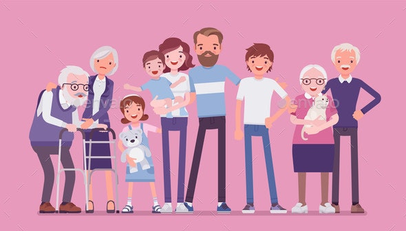 Multigenerational Family Common Household Happy - People Characters