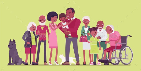 Multigenerational Black Family Common Household - People Characters