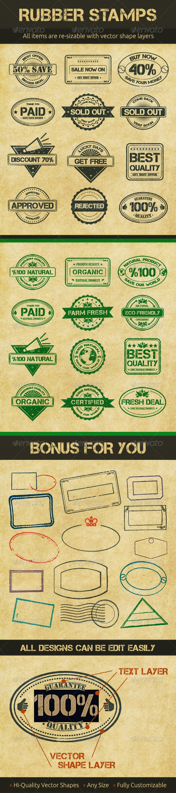 Selling Rubber Stamps - Badges & Stickers Web Elements