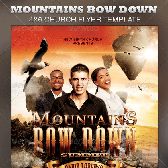 Mountains Bow Down-Church Flyer Template