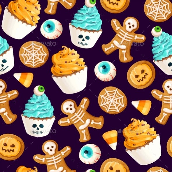 Vector Seamless Pattern with Scary Halloween Sweet
