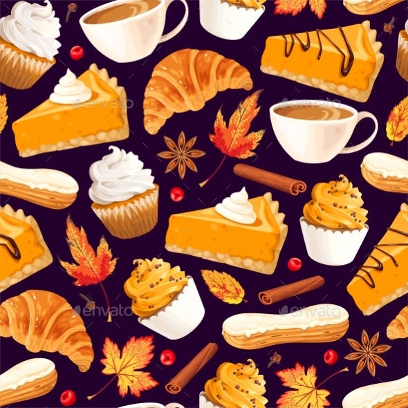 Seamless Pattern with Pumpkin Pie and Pastry