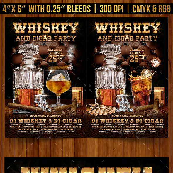 Whiskey and Cigar Flyer Template