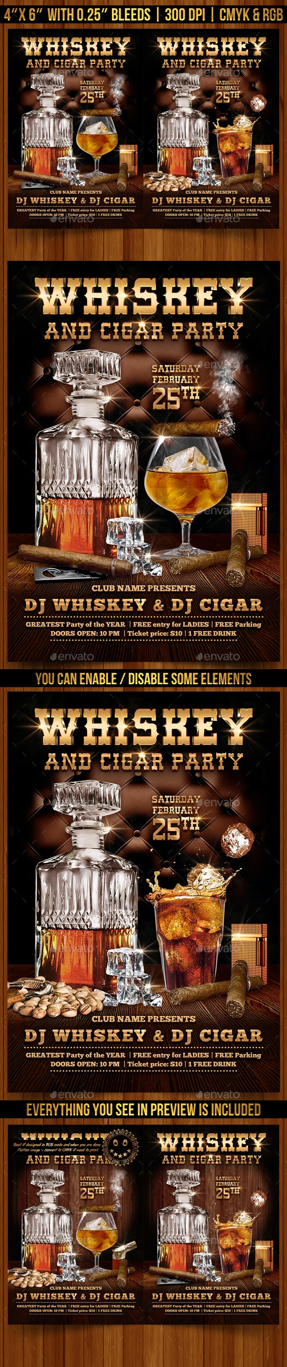 Whiskey and Cigar Flyer Template - Clubs & Parties Events
