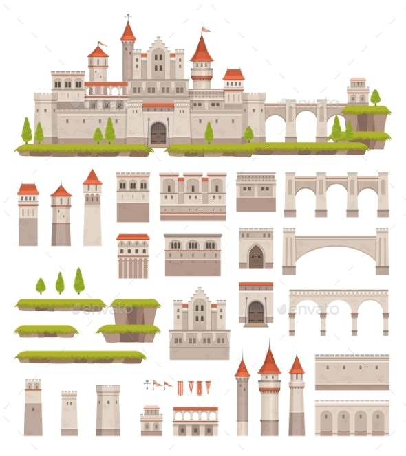 Medieval Castle Constructor Kids Game Palace Kit - Buildings Objects