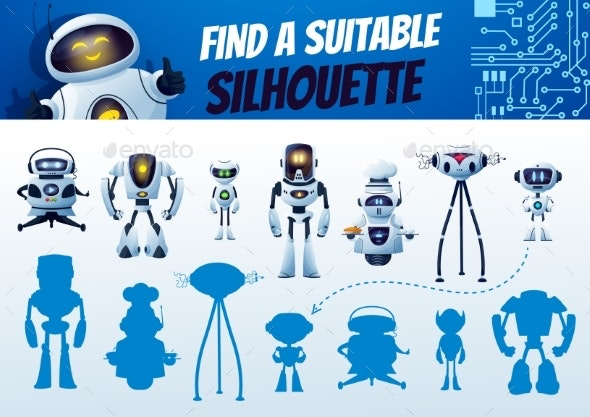 Find a Robot Silhouette Maze Game Shadow Match - Miscellaneous Characters