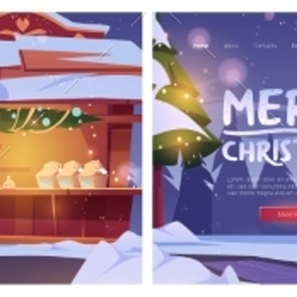 Christmas Fair Banners with Market Stalls and Snow