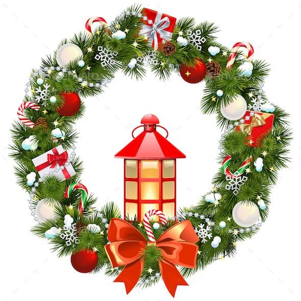 Vector Snowy Christmas Wreath with Lamp