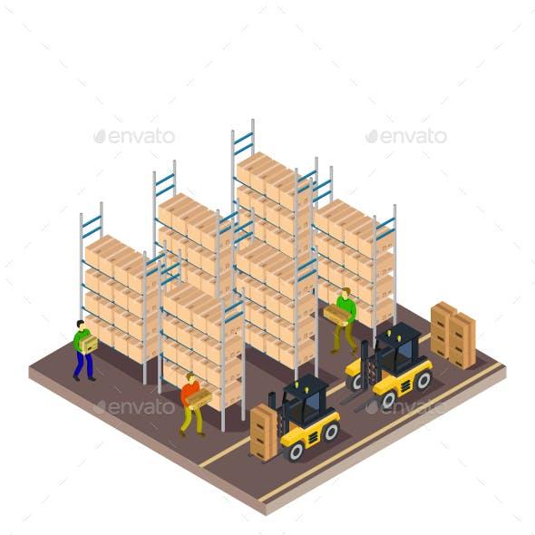 Isometric Warehouse Illustrated On White Background