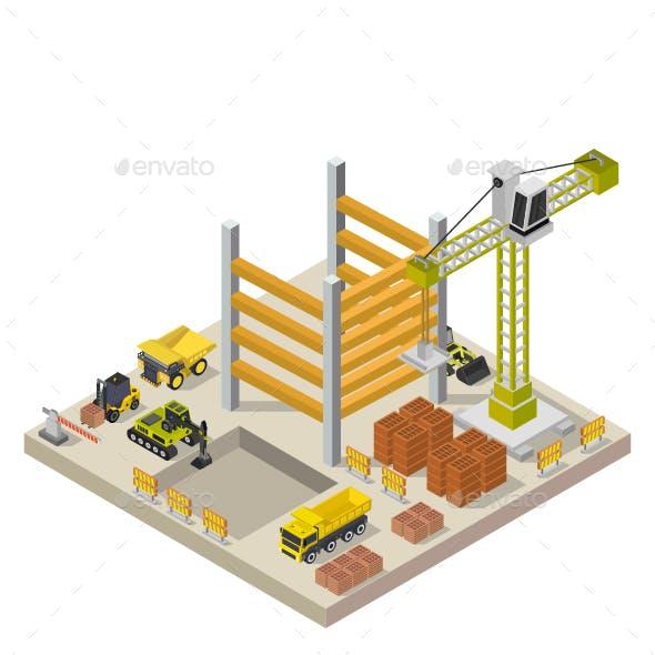 Isometric Building Under Construction Illustrated On White Background