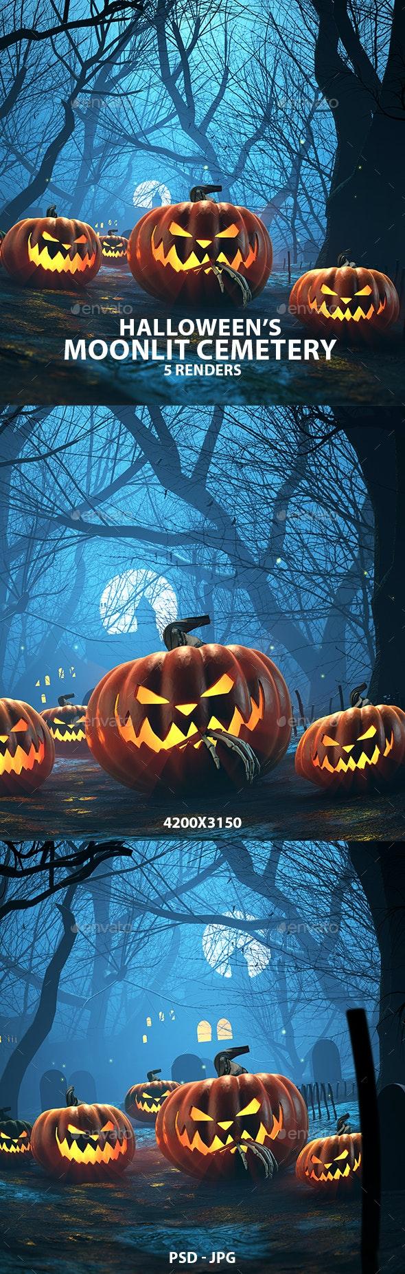 Halloween Moonlit Cemetery 3D Renders - Miscellaneous 3D Renders