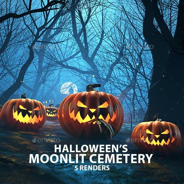 Halloween Moonlit Cemetery 3D Renders