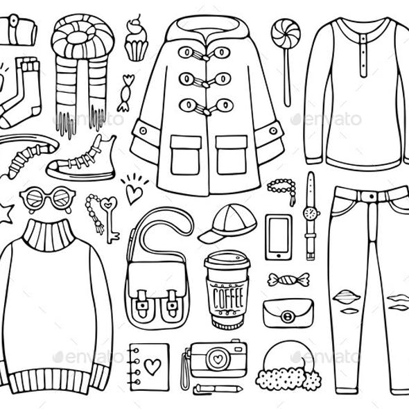 Doodle Set of Clothes and Elements for Cold Season