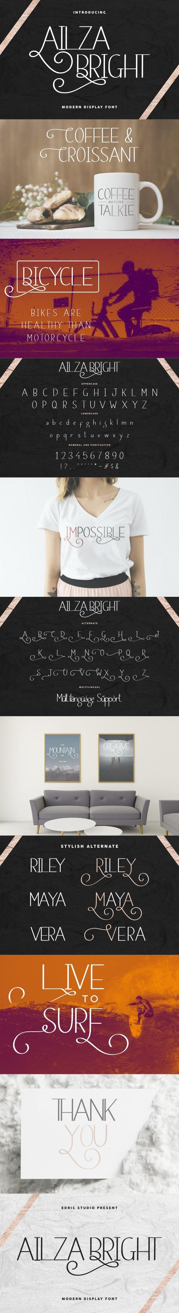 Ailza Bright Display Sans Font - Sans-Serif Fonts