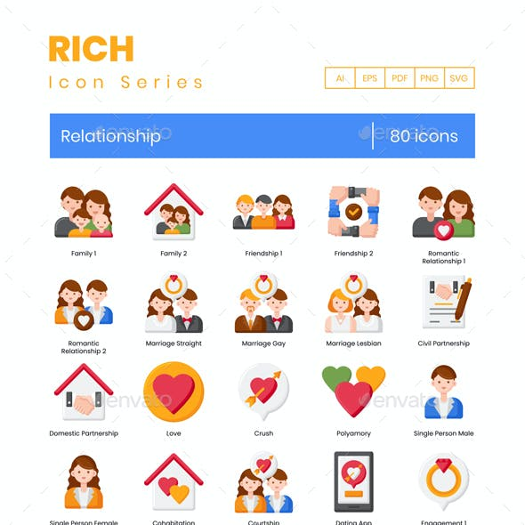 80 Relationships Icons | Rich Series