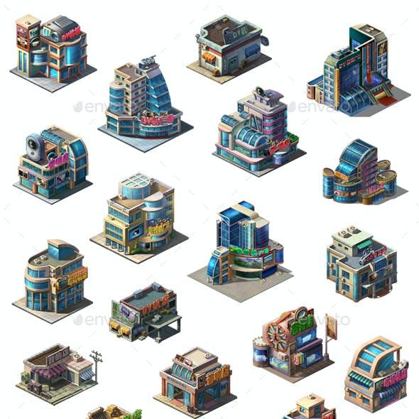 2.5D Fantasy House Home Shop Building Sprites Icon Game Assets