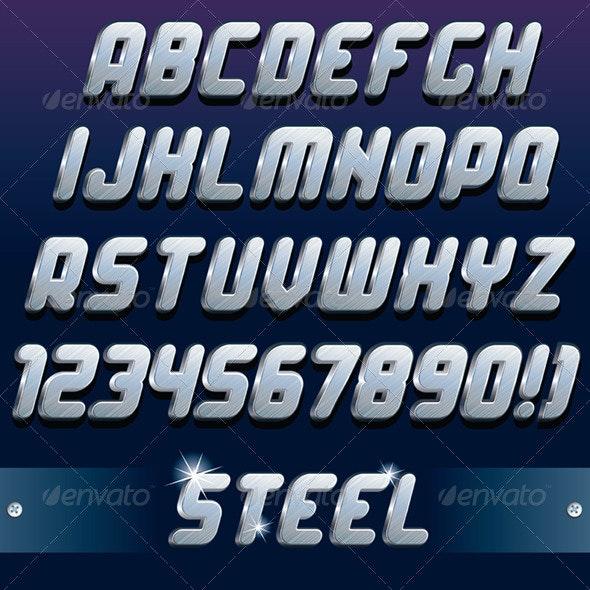 3D Metal Font - Decorative Symbols Decorative