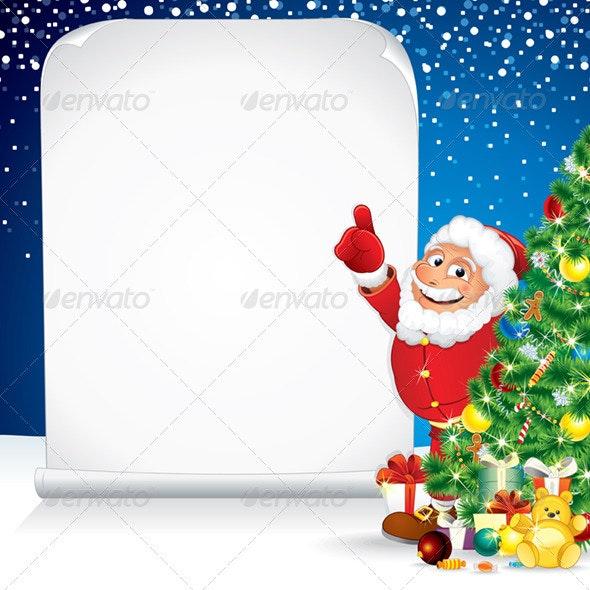 Santa Claus with Wishing List. - Christmas Seasons/Holidays