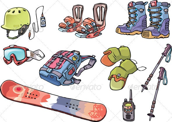 Backcountry Freeride Stuff for the Snowboarders - Objects Vectors