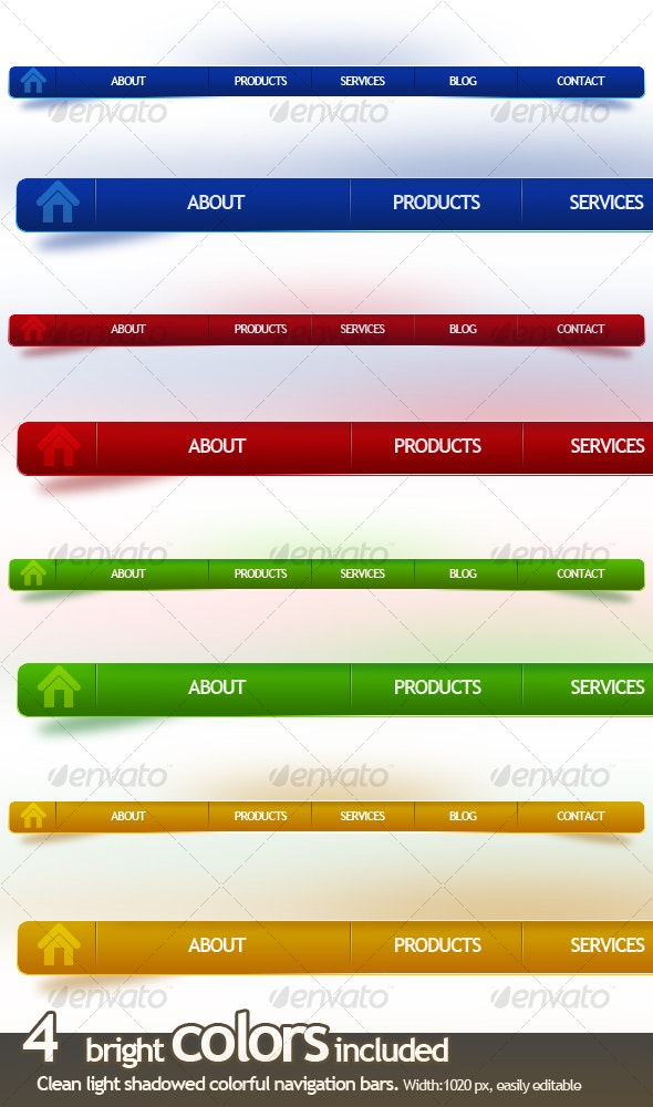 4 Clean Light Shadowed Colorful Navigation Bars - Web Elements