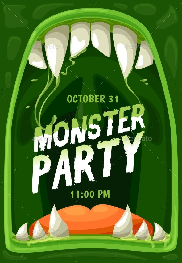 Halloween Monster Party Poster with Zombie Mouth - Halloween Seasons/Holidays