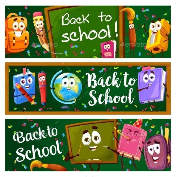 Back to School Banners with Education Characters - Miscellaneous Characters