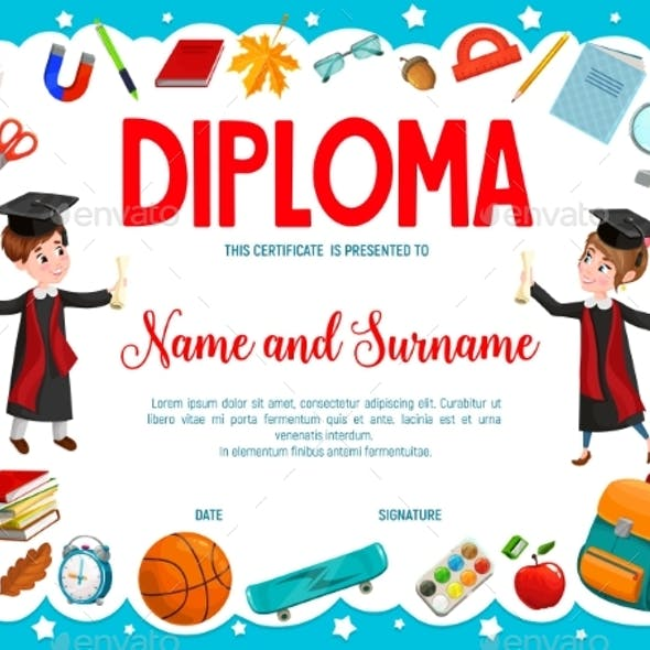 Education Diploma with Cartoon Boy and Girl Pupils