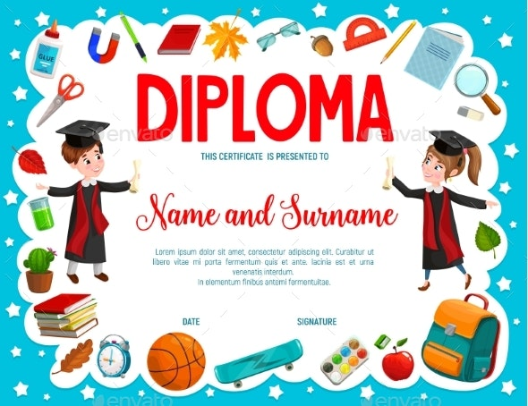 Education Diploma with Cartoon Boy and Girl Pupils - Miscellaneous Characters