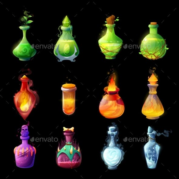 Cartoon Magic Potions Bottles Game Design Icons