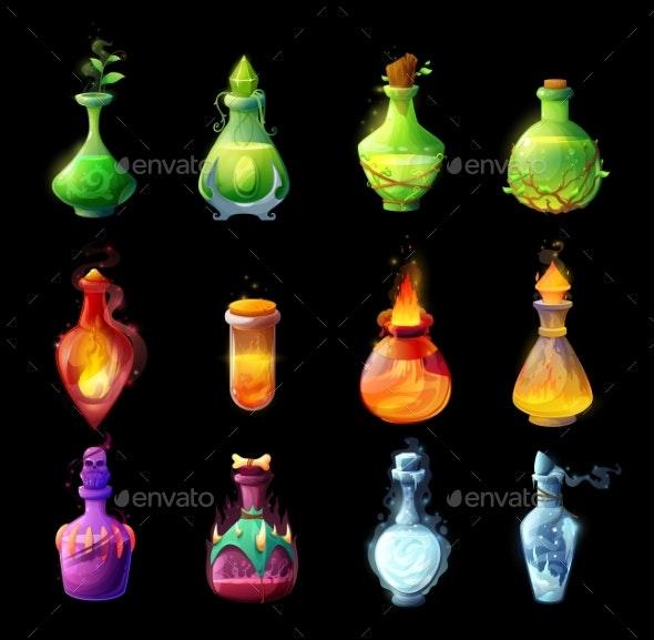 Cartoon Magic Potions Bottles Game Design Icons - Halloween Seasons/Holidays
