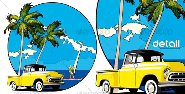 Hawaiian vignette - Travel Conceptual