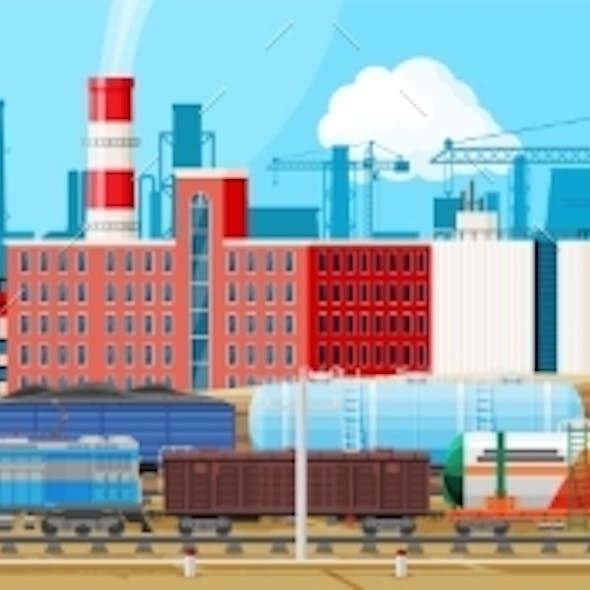 Landscape Of Cargo Rail Transportation With Plant