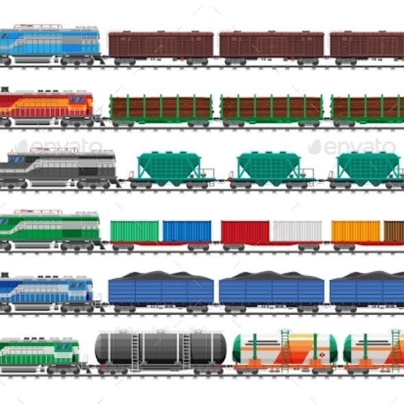 Set of Train Cargo Wagons Cisterns Tanks Cars