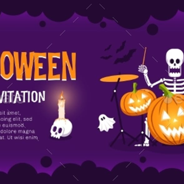 Halloween Party Flyer with Skeleton Drummer and