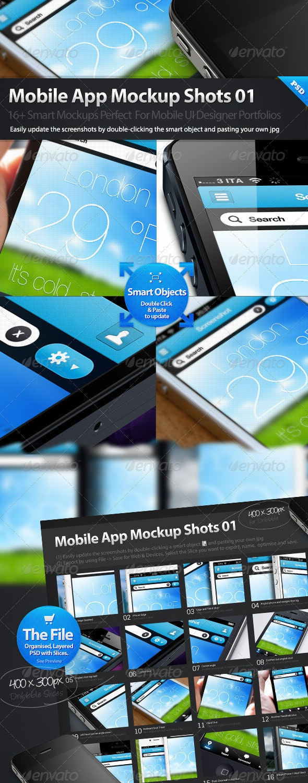 Dribbble Styles Mobile App Mockups - Mobile Displays