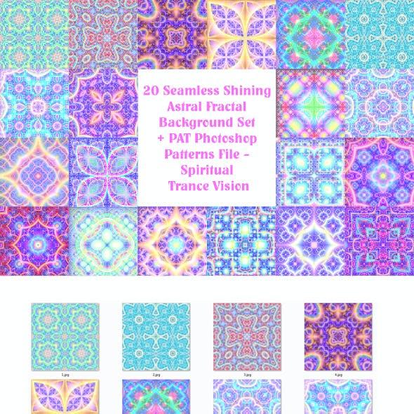 20 Seamless Shining Astral Fractal Background Set + PAT Photoshop Patterns File - Spiritual Trance V