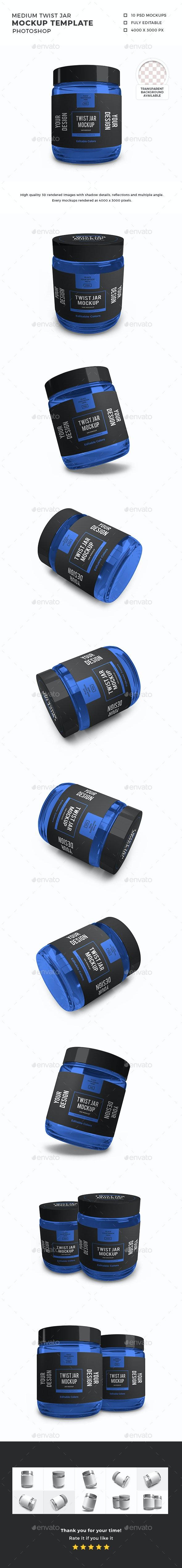 Medium Twist Jar Packaging Mockup Template Set - Packaging Product Mock-Ups
