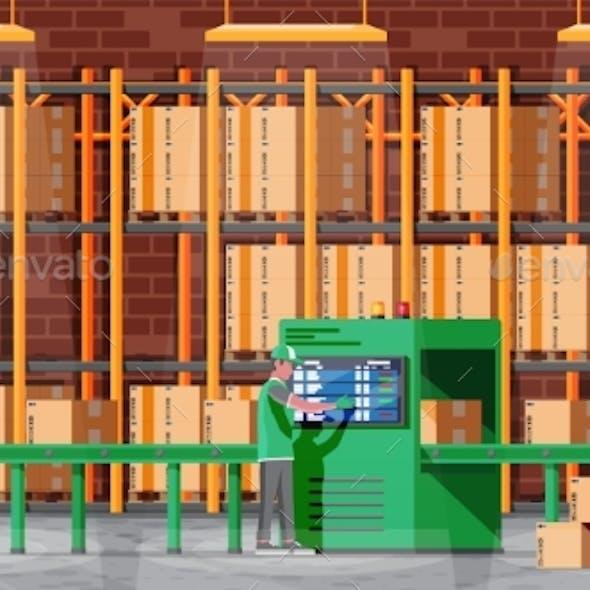 Conveyor Belt Machine Concept in Warehouse