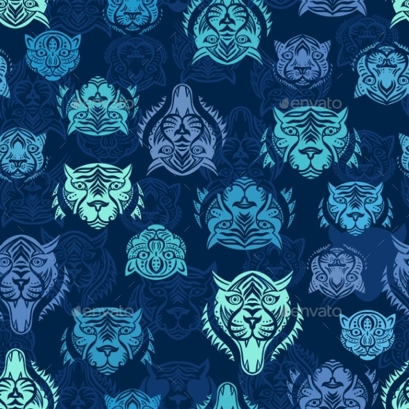 Blue Tiger Silhouette Tattoo Style Vector Pattern - Patterns Decorative