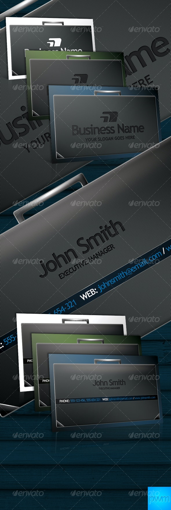 3 Elegant Briefcase Business Cards - Corporate Business Cards