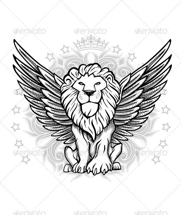 Winged Lion Front View Drawing - Animals Characters