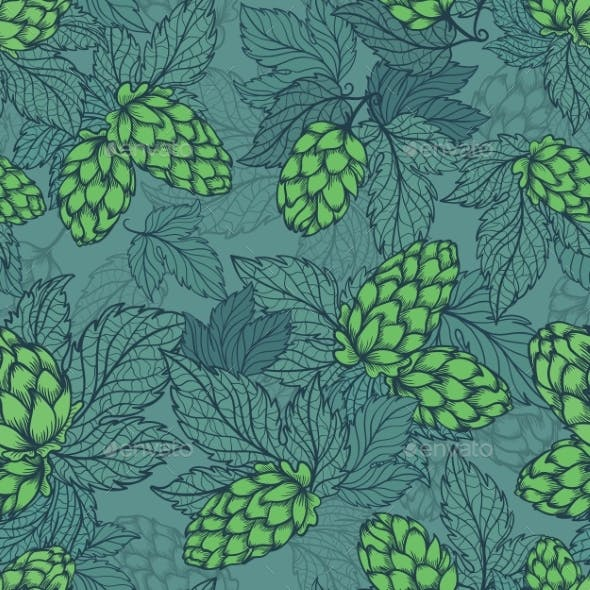 Turquoise Hops Plant Sketch Seamless Vector