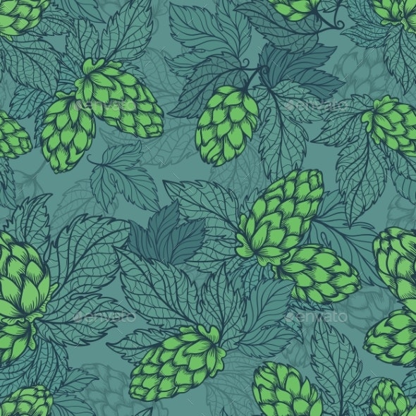 Turquoise Hops Plant Sketch Seamless Vector - Patterns Decorative