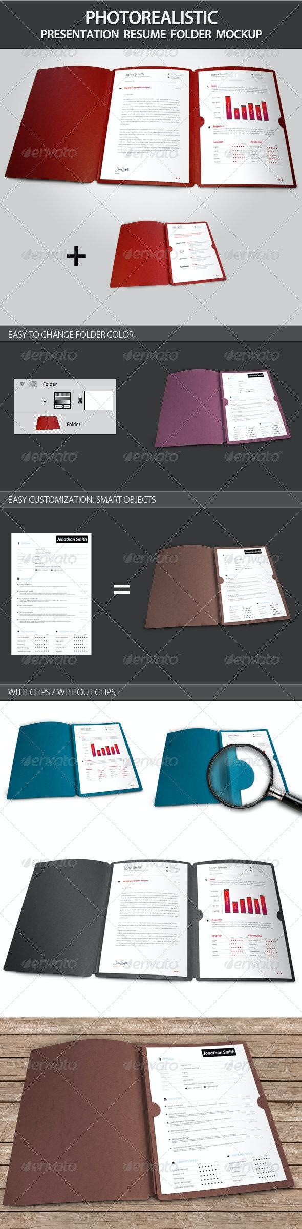 Photorealistic Presentation Resume Folder Mockup - Miscellaneous Print